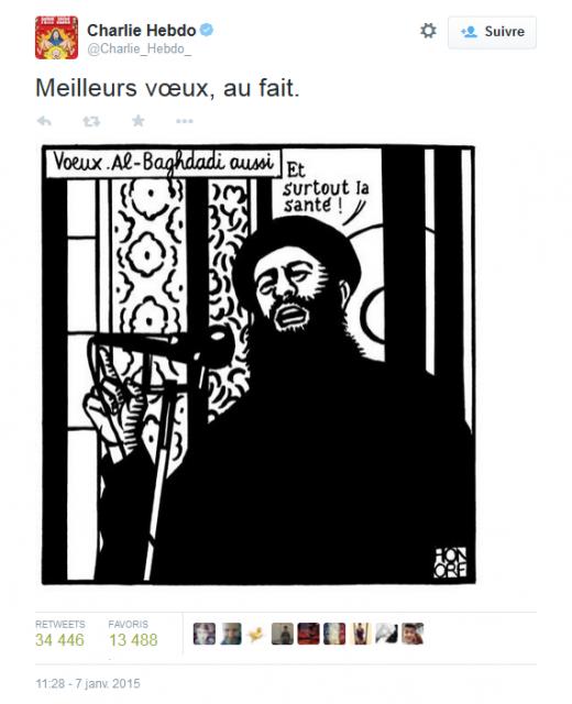 Les vœux de Charlie Hebdo, par Honoré. Postés le 7 janvier à 11h28, juste avant la tuerie